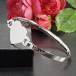 Silver Heart Bangle, ladies personalised engraved, ref. HBL1
